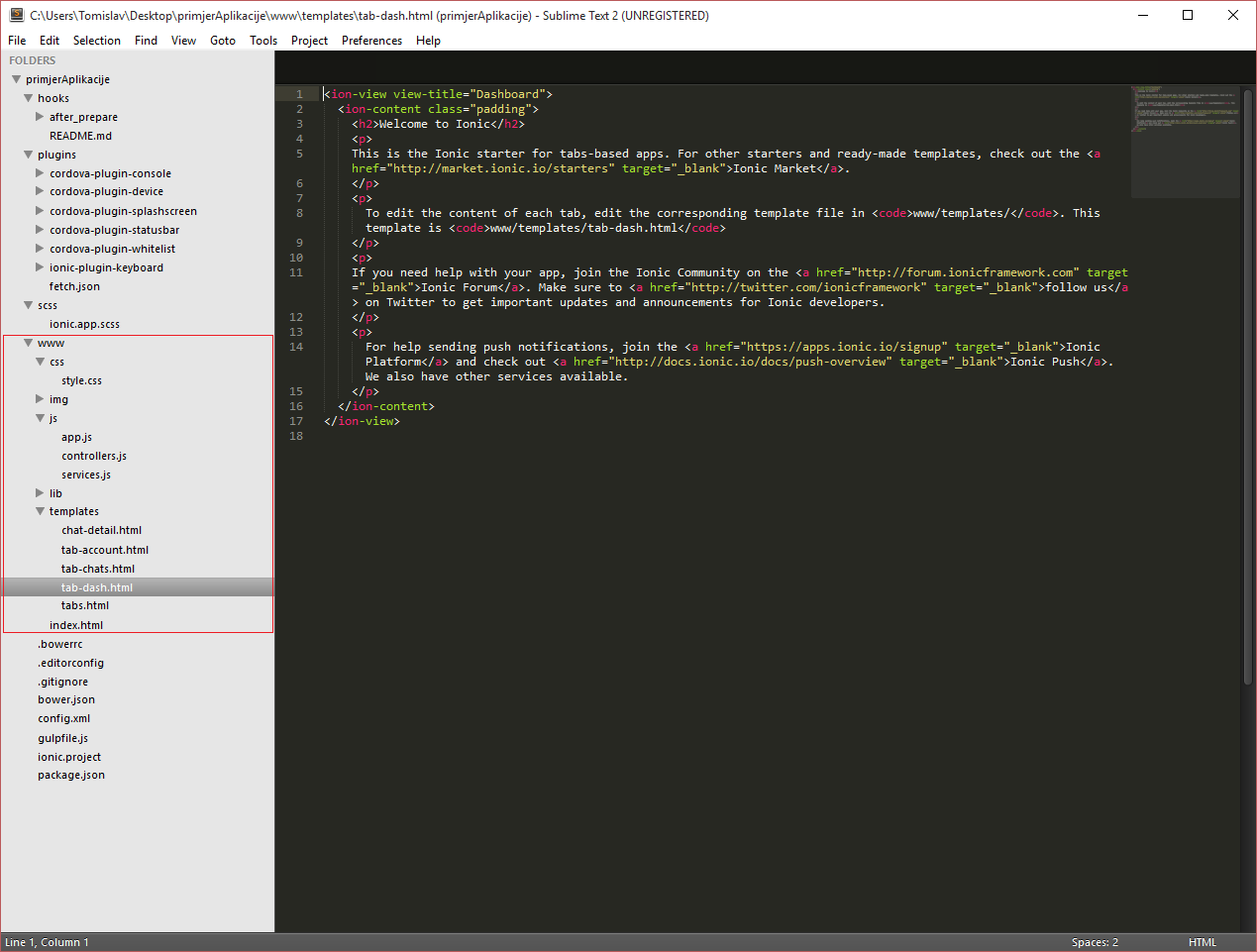 Sublime Text 2 - Ionic tabs app