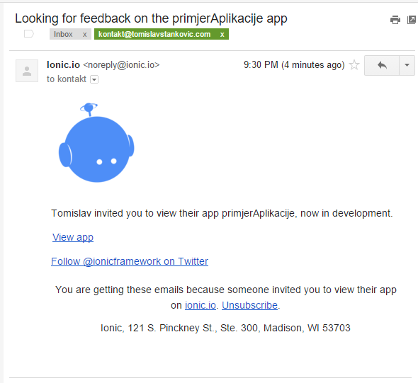 Ionic View email