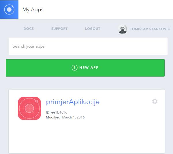 Ionic View popis aplikacija
