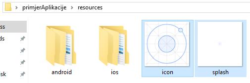Ionic aplikacija resursi