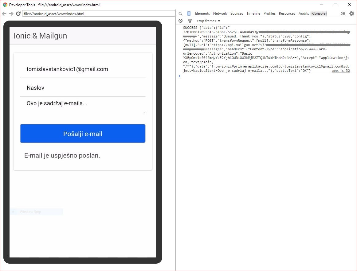 Ionic Framework & Mailgun API - Uspješno poslan email