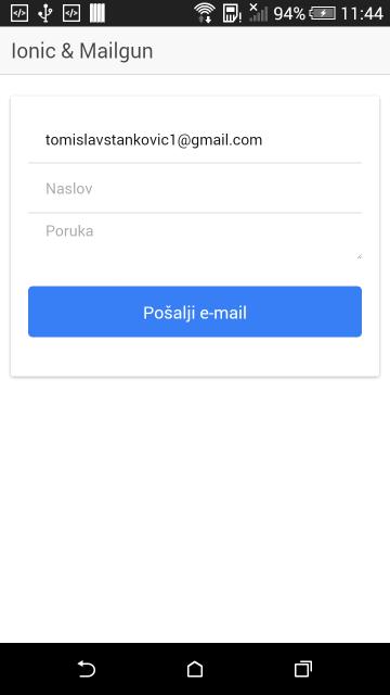 Ionic & Mailgun forma za slanje e-maila