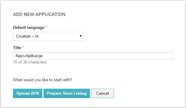Google Play Developer Console: Add new application