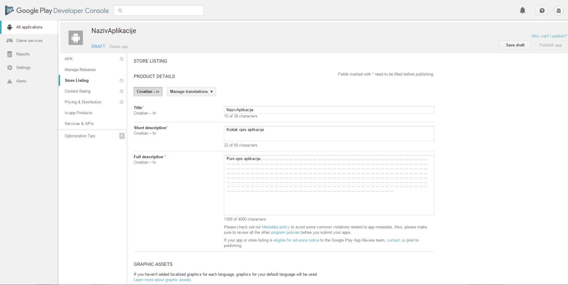 Google Play Developer Console: Prepare Store Listing