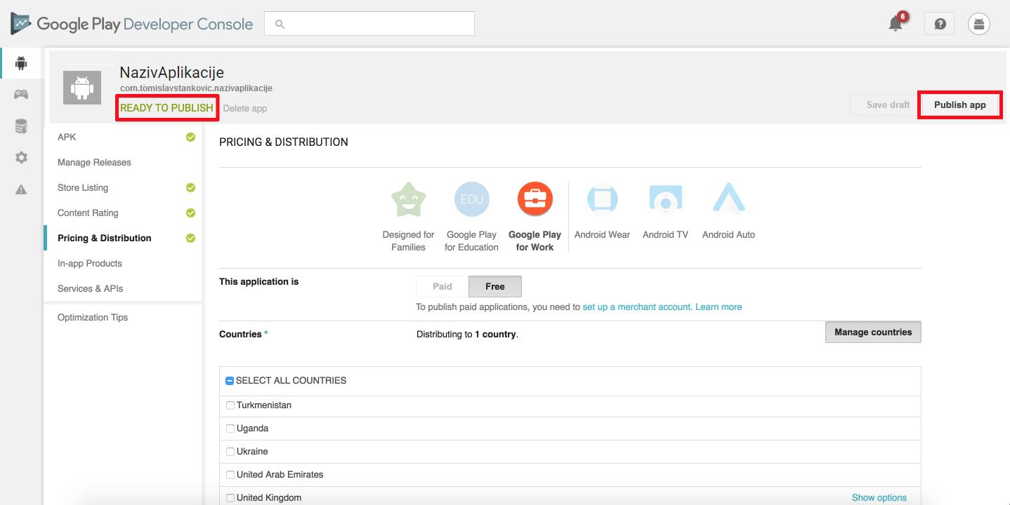 Google Play Developer Console: Publish app
