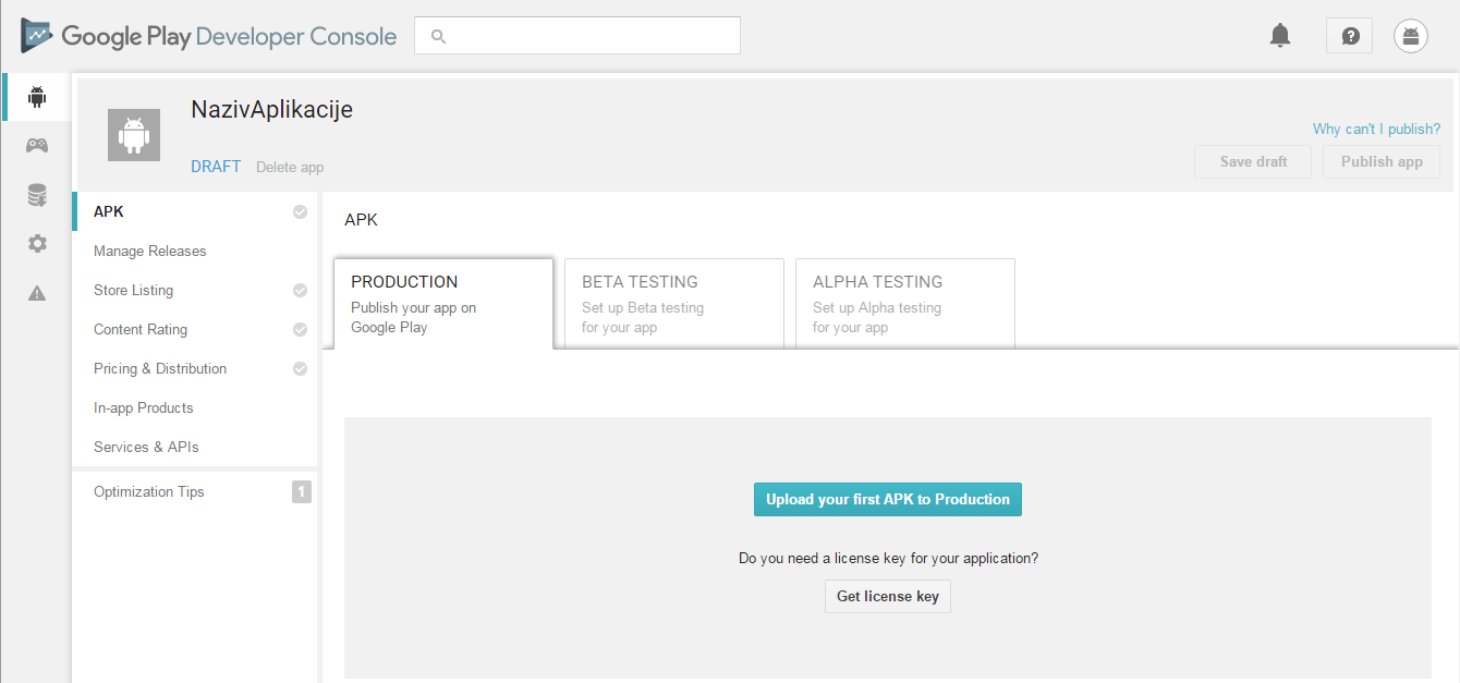 Google Play Developer Console: Upload apk