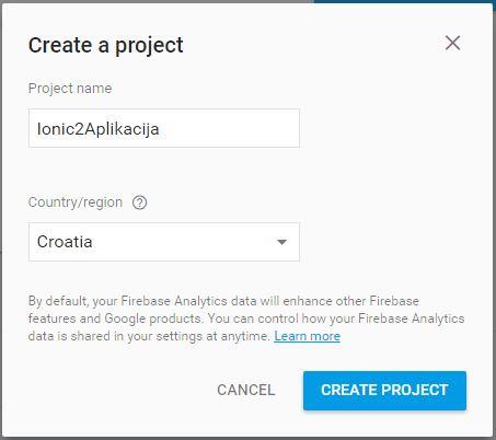 Google Firebase Ionic