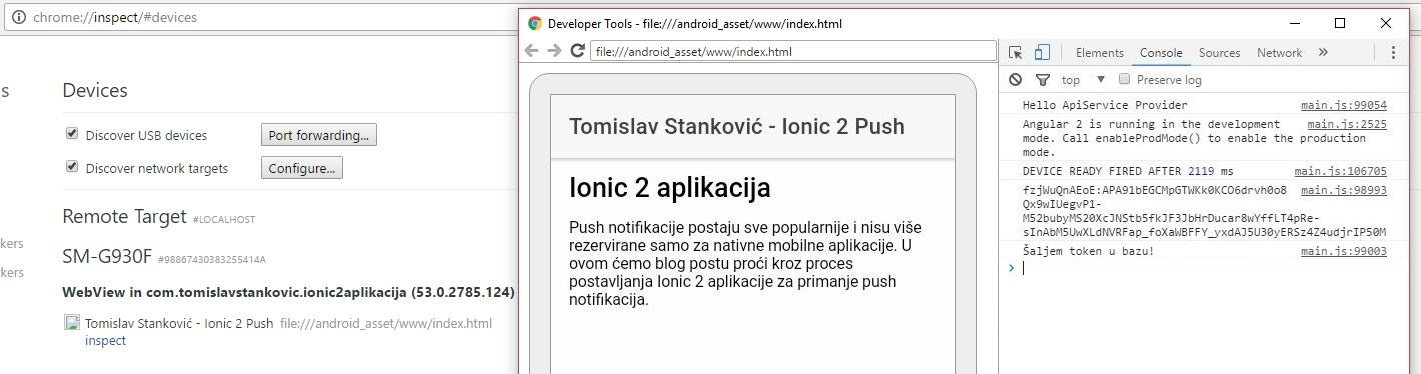 Ionic2 Android Push Send Token