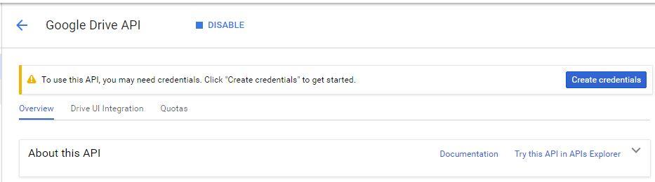 Google Developers API Create-credentials