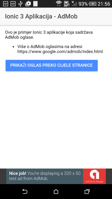 AdMob - Banner na dnu stranice