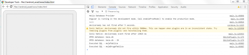 Ionic 2 & 3 – SQLite servis - kreiranje tablice