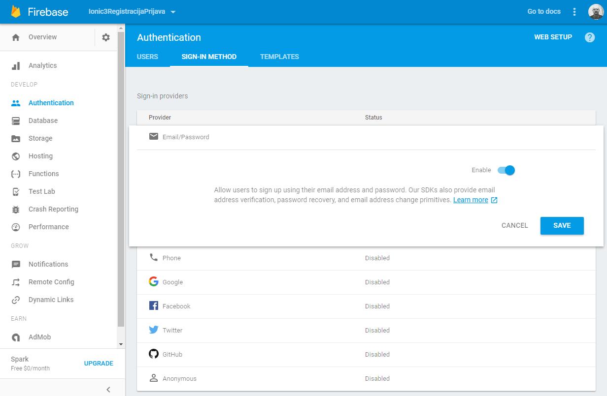 GoogleFirebase Authentication Method