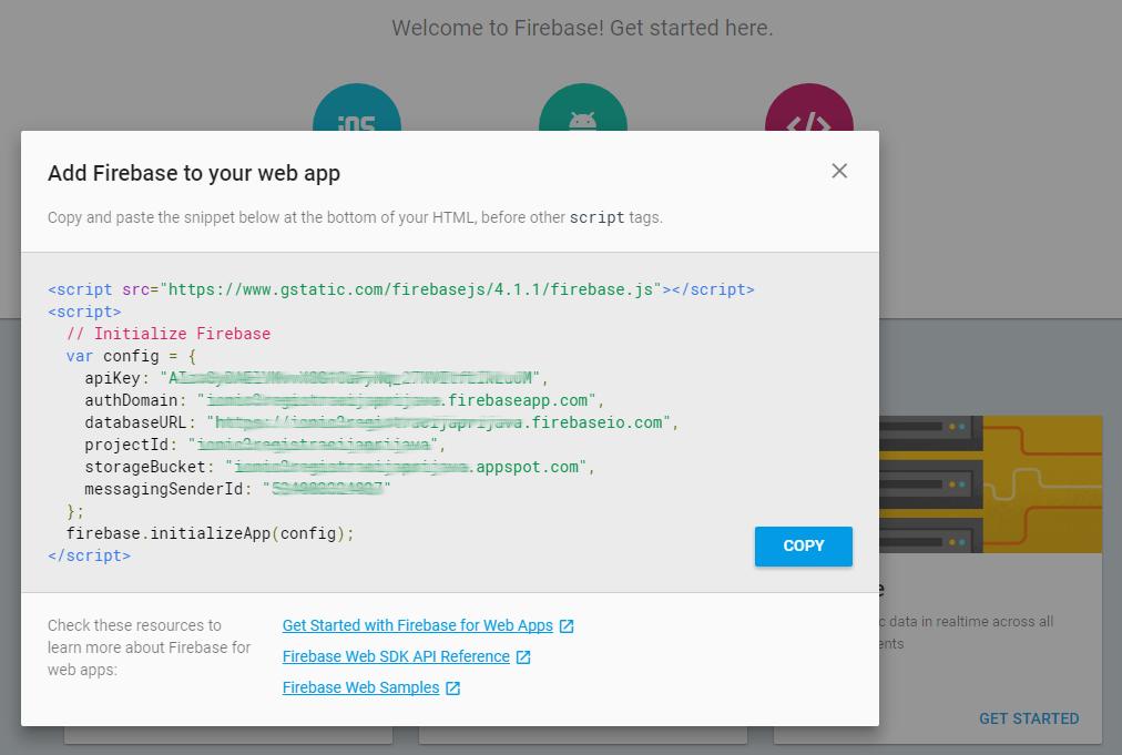 GoogleFirebase Config Object