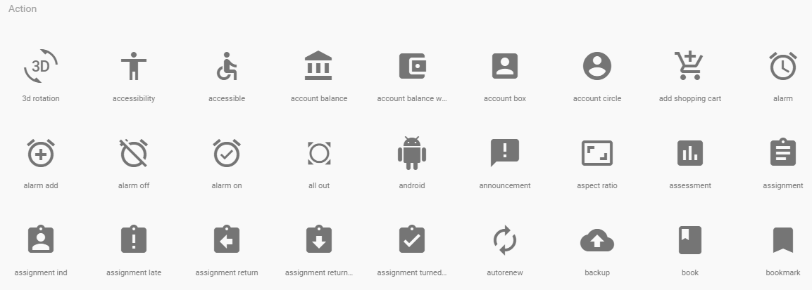 Angular Material ikone