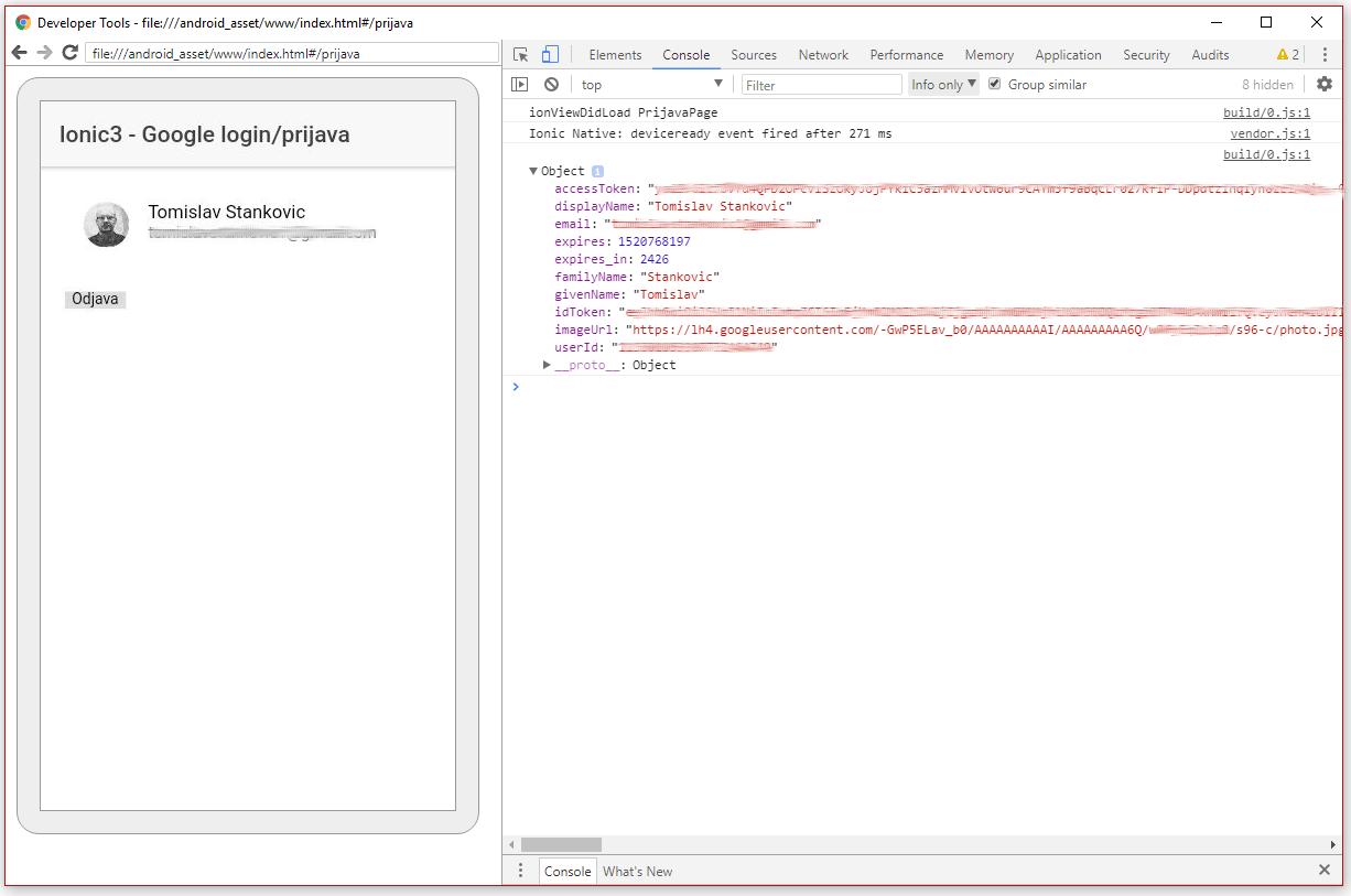 Ionic 3 google login prijava tomislav stankovi for Google consule