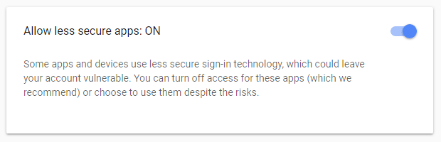 """Less Secure Apps"" - Google"