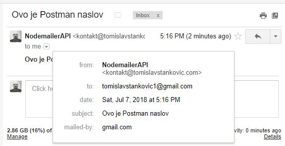Nodemailer & NodeJS – API za slanje emaila