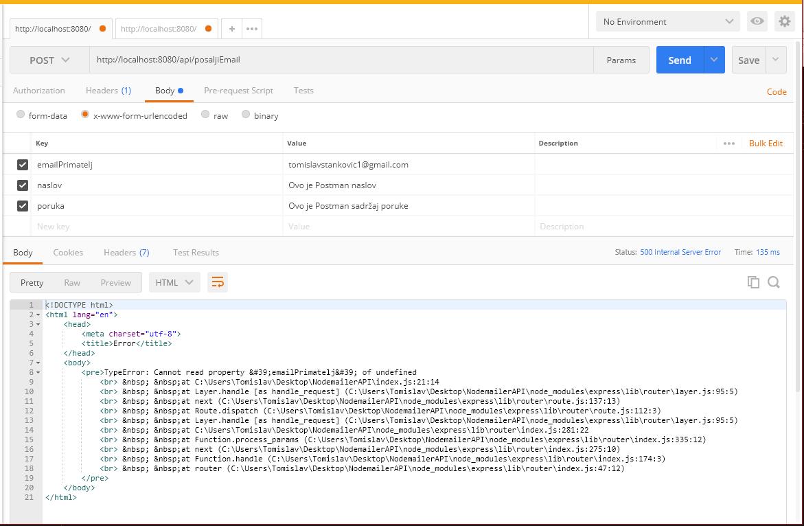 """Ovdje se može vidjeti da podatke šaljem kroz <span class=""""lang:js decode:true  crayon-inline"""">req.body</span> i upravo je to razlog zbog kojeg koristim <strong><em><a href=""""https://www.npmjs.com/package/body-parser"""" rel=""""noopener"""" target=""""_blank"""">body-parser</a></em></strong>. U slučaju da nisam koristio <em>body-parser</em> dobio bi sljedeću grešku."""