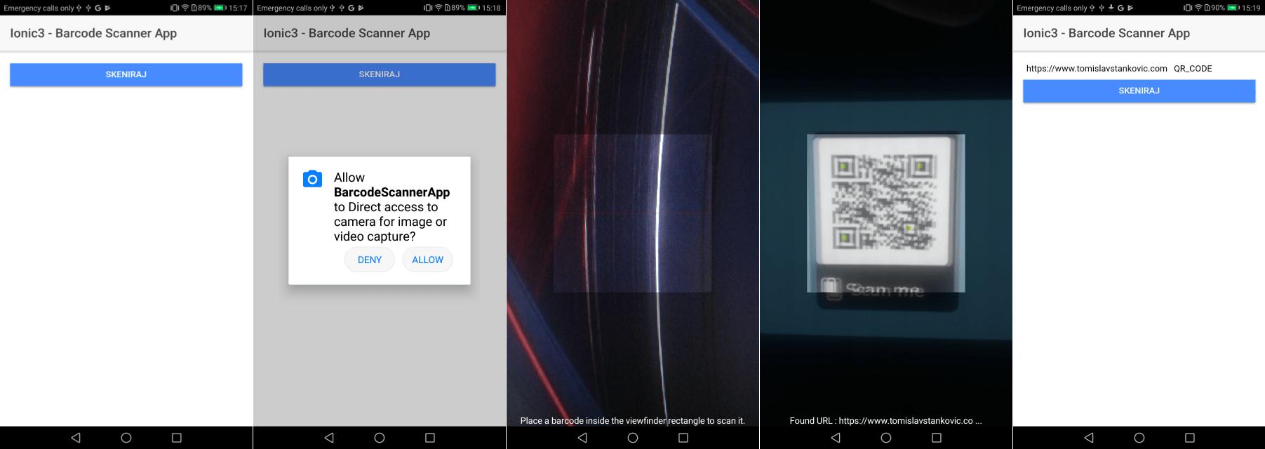 Ionic 3 – Barcode QR skener