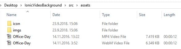 Korištenje video pozadine u Ionic aplikaciji