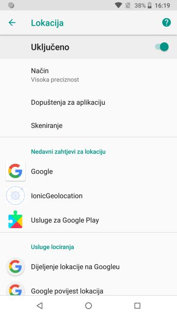 Android postavke uređaja
