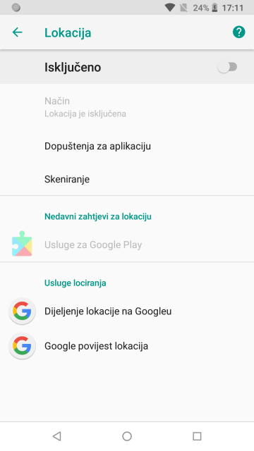 Postavke lokacije - Android