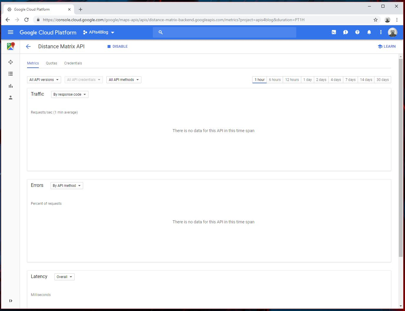 Distance Matrix API Google Cloud Platform