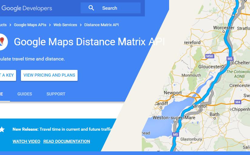 Google Distance Matrix API – prikaz informacija o udaljenosti i vremenu putovanja između dvije lokacije na Google karti