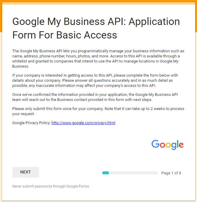 Google My Business API