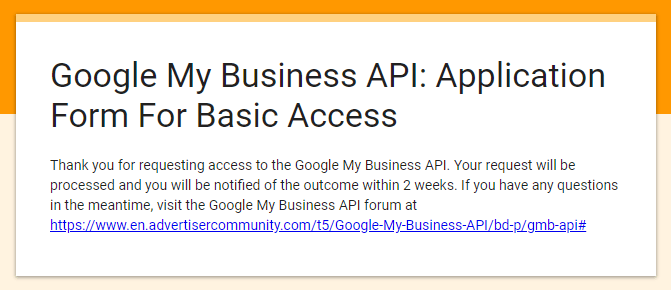 Google My Business API: Application Form For Basic Access