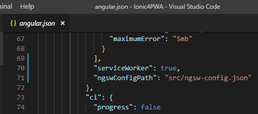 angular.json pwa