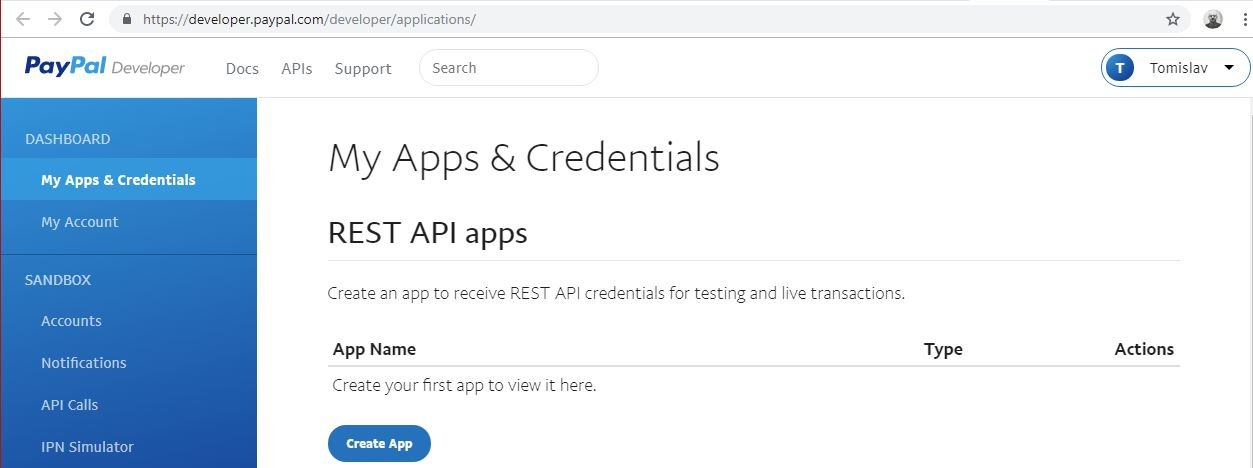 PayPal Apps & Credentials