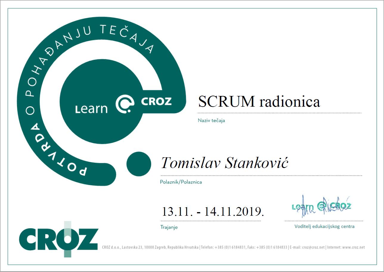 Scrum radionica - Tomislav Stanković